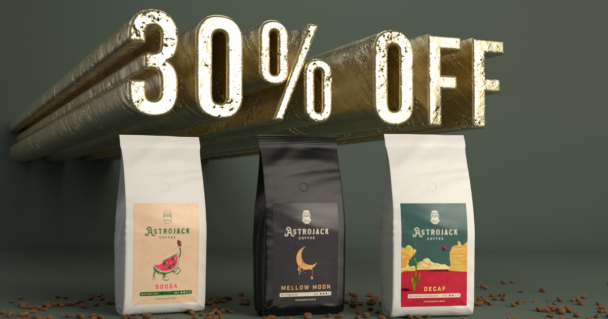 30% off All Coffee Blends + $7 Shipping