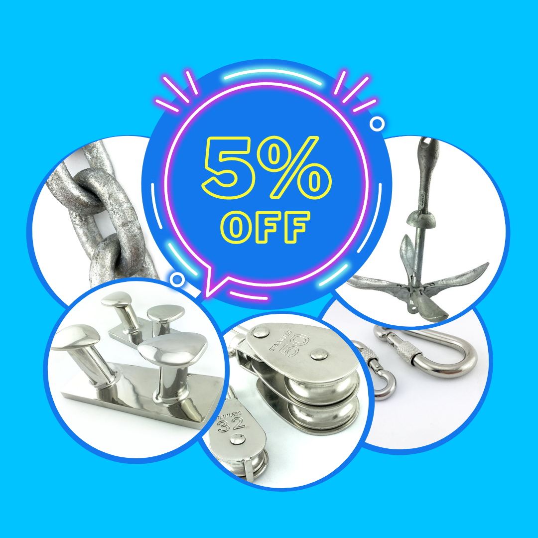 5% off Marine Fittings, Chain and Anchors - Australia wide delivery