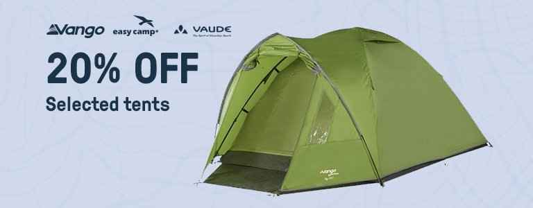 20% OFF on selected items including boots, lighting, tents & more