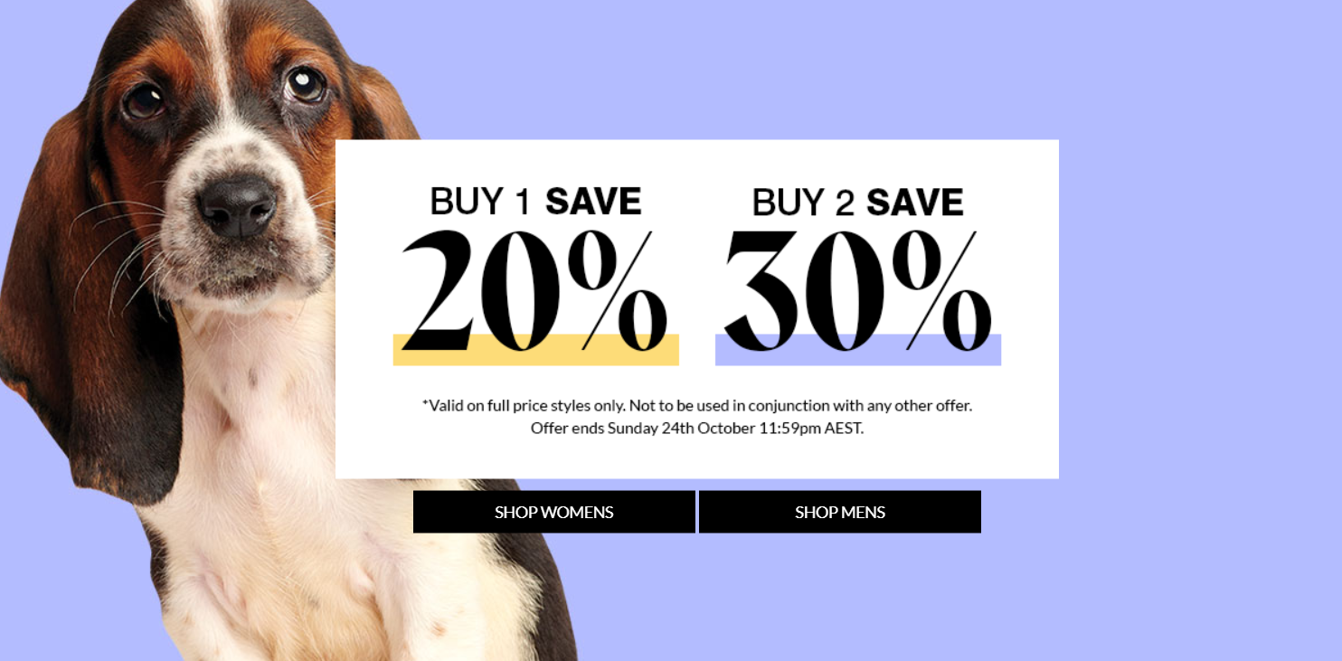Buy 1 Save 20%, Buy 2 Save 30% on Full price products