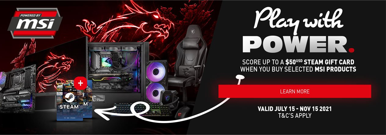 PC Case Gear bonus Steam wallet code of up to $50 with MSI product