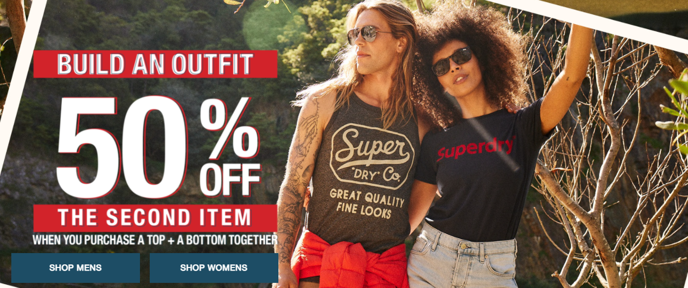 Superdry 50% OFF the second item when you purchase a top + bottom together.