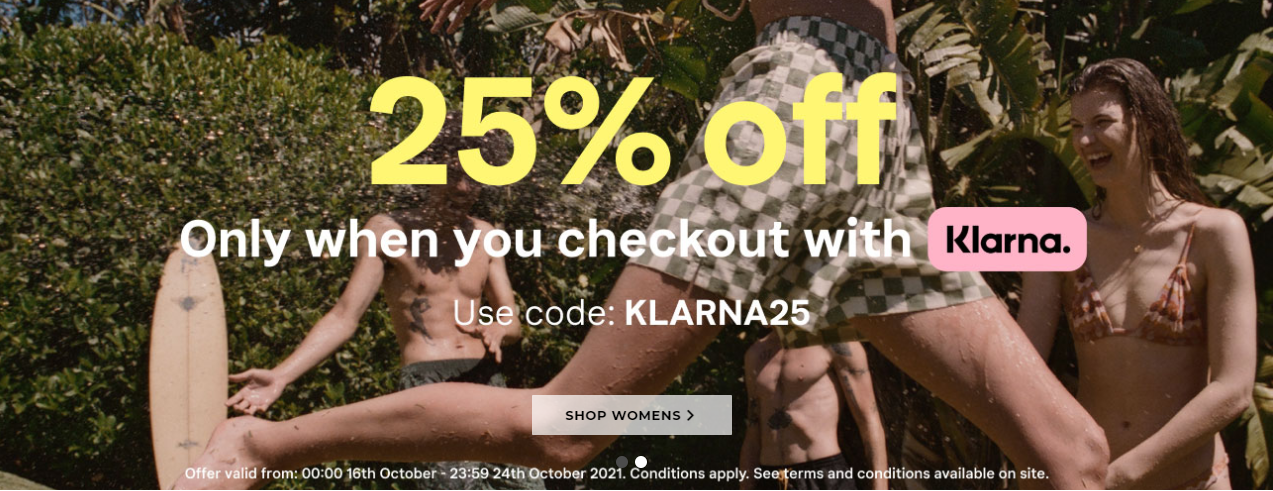 Save extra 25% OFF on your order with promo code(Klarna only)