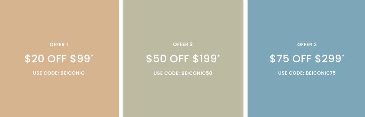 The Iconic spend and save up to $75 OFF on your first purchase with promo codes